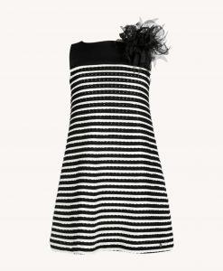 abito trapezio bianco nero 2410